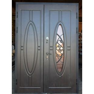 Дверь входная двустворчатая Симфония со стеклопакетом
