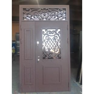 Дверь входная с филенкой Классика двухстворчатая с фрамугой