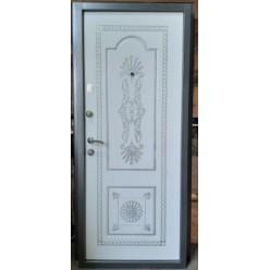 Дверь входная Бергамо антик серебро/белое дерево с патиной серебром